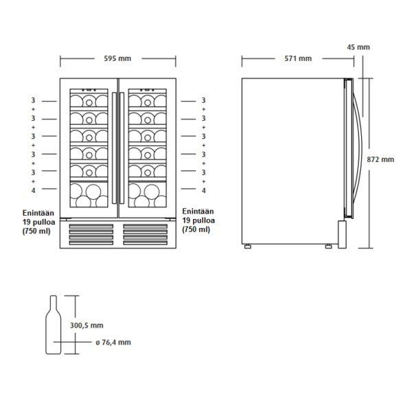 Viinikaappi CSV 90 mitat