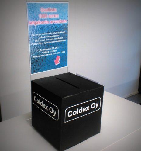 1000 euron lahjakortti Coldex Oy:n kylmäkalustevalikoimaan