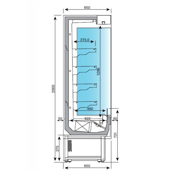 EMS kylmähyllyn mitat